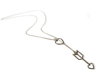 Sterling Silver 925 Heart and Arrow Lariat Necklace